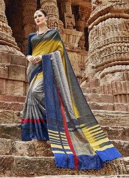 Multi Colour Abstract Print Khadi Silk Printed Saree