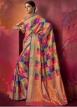 Multi Colour Ceremonial Art Silk Traditional Saree