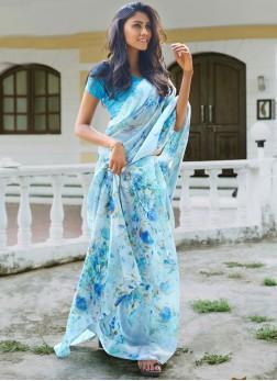 Multi Colour Cotton Casual Printed Saree