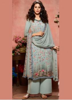 Multi Colour Digital Print Faux Crepe Designer Palazzo Salwar Suit