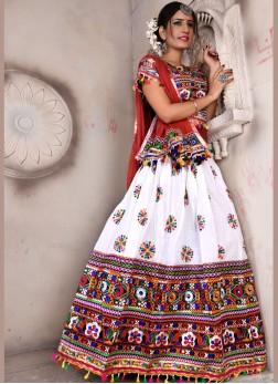 Multi Colour Embroidered Cotton ChaniyaCholi