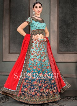 Multi Colour Embroidered Fancy Fabric Lehenga Choli