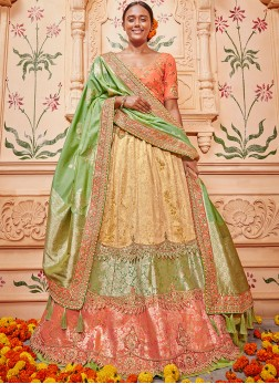 Multi Colour Embroidered Jacquard Silk Lehenga Choli