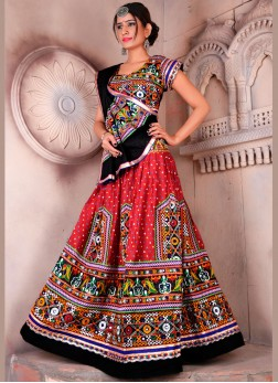 Multi Colour Embroidered Lehenga Choli