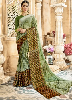 Multi Colour Georgette Satin Printed Saree