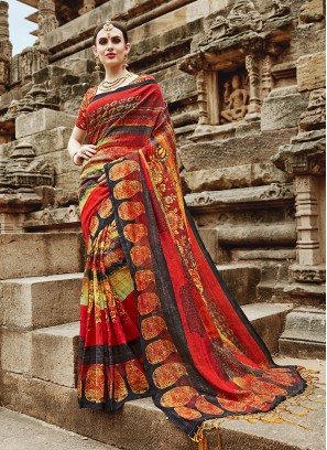 Multi Colour Khadi Silk Festival Printed Saree