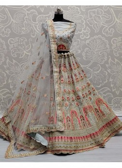 Multi Niddle Embroidery On Silk - Wedding Lehengac