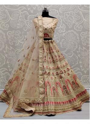 Multi Niddle Embroidery On Silk - Wedding Lehengacholi In Peach