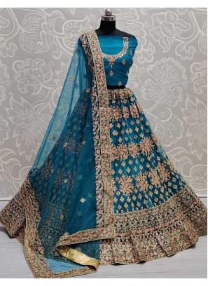 Multi Thread Embroidered Net Lehenga Choli In Aque Blue