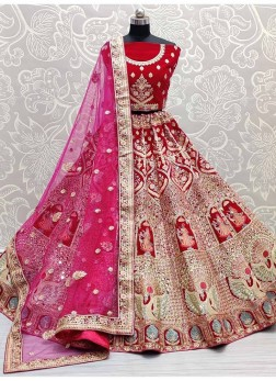 Multi Thread Embroidery Bridal Lehenga Choli In Pink