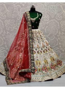 Multi Thread Embroidery Lehenga Choli In White And Green