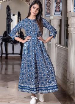 Muslin Blue Designer Gown