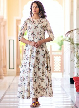 Muslin Print White Party Wear Kurti
