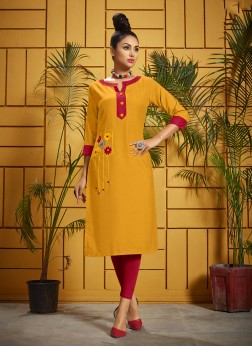 Mustard Ceremonial Party Wear Kurti