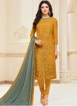 Mustard Chanderi Cotton Embroidered Churidar Suit