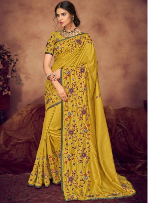 Mustard Embroidered Designer Saree