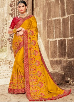Mustard Embroidered Traditional Designer Saree