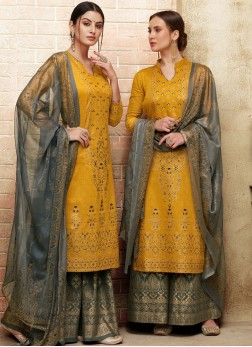 Mustard Print Art Silk Designer Pakistani Suit