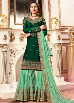 Mystic Faux Georgette Green Embroidered Designer Pakistani Suit