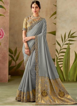 Mystic Patch Border Art Silk Traditional Designer Saree