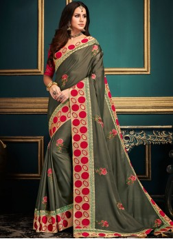 Mystical Grey Embroidered Art Silk Traditional Saree