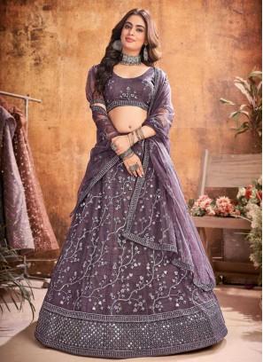 Navratri Style Sequences Work On Net Lehenga Choli In Violet