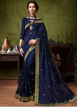Navy Blue Art Silk Patch Border Designer Traditional Saree