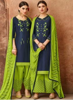 Navy Blue Cotton Embroidered Designer Salwar Kameez