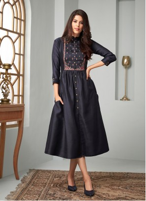 Navy Blue Cotton Embroidered Party Wear Kurti
