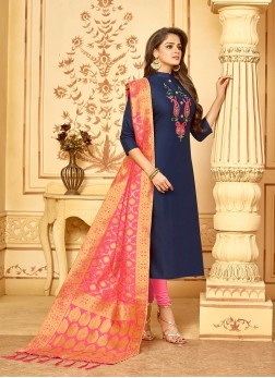 Navy Blue Embroidered Cotton Churidar Designer Suit