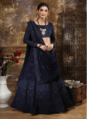Navy blue georgette heavy embroidered wedding lehenga choli