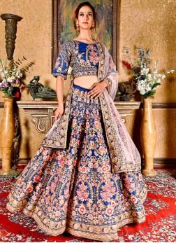 Navy Blue Sangeet Art Silk Designer Lehenga Choli