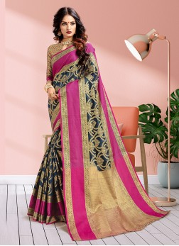 Navy Blue Weaving Traditional Saree