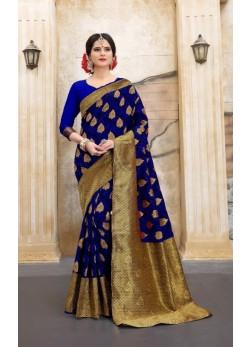 Navyblue silk abstract print banarasi saree