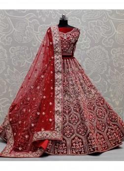 Neatly Machine Embroidered Designer Bollywood Lehenga Choli In Red