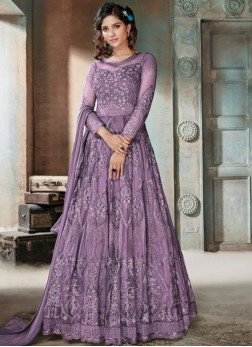 Net Embroidered Anarkali Salwar Kameez in Lavender