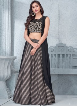 Net Embroidered Black Lehenga Choli