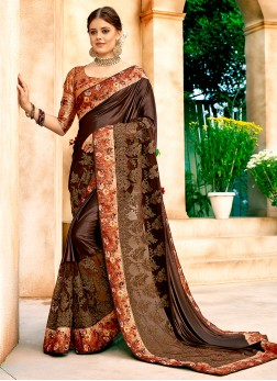 Net Embroidered Brown Classic Designer Saree