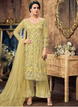Net Embroidered Designer Pakistani Salwar Suit in Yellow