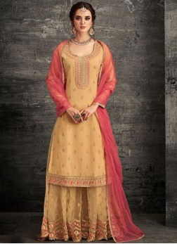 Net Embroidered Designer Pakistani Suit in Yellow