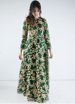 Net Embroidered Green Readymade Gown