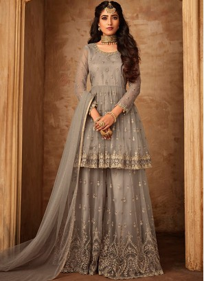Net Embroidered Palazzo Designer Suit in Beige