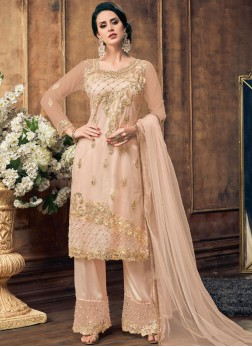 Net Embroidered Pink Designer Pakistani Salwar Suit