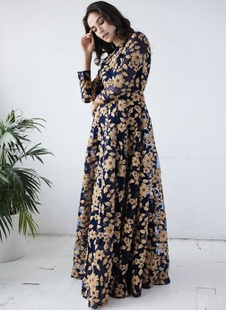 Net Embroidered Readymade Gown in Navy Blue
