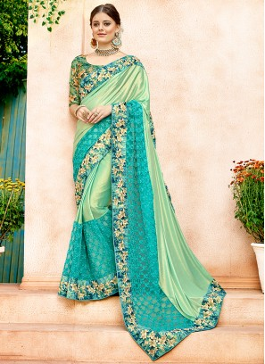 Net Embroidered Sea Green Classic Designer Saree