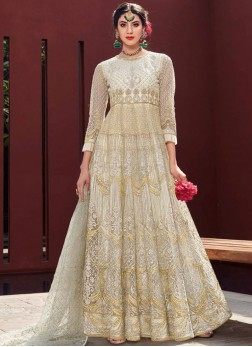 Net Embroidered Trendy Gown in Cream