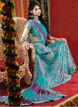 Net Fancy Handwork Bridal Lehenga Choli in Blue