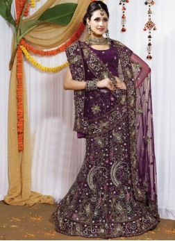 Hand embroidered Fancy Purple Bridal zardosi work Lehenga Choli
