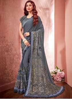 Net Grey Fancy Designer Saree