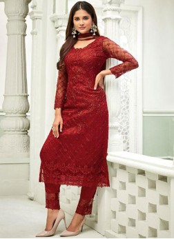 Net Handwork Pant Style Suit in Red